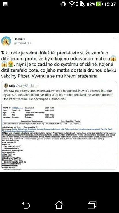 Česká podoba hoaxu, jež se šíří mimo jiné z twitterového účtu HankaH