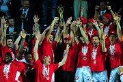 Fotbalové utkání finále MOL Cupu mezi celky SK Slavia Praha a FK Jablonec 9. května v Mladé Boleslavi. Slavie slaví zisk poháru.