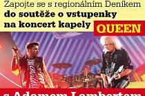 Zapojte se s regionálním Deníkem do soutěže o vstupenky na koncert kapely QUEEN s Adamem Lambertem 17.února 2015 v O2 Aréně v Praze