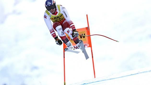 Rakouský lyžař Matthias Mayer ve sjezdové části kombinace SP ve Wengenu. Ilustrační snímek