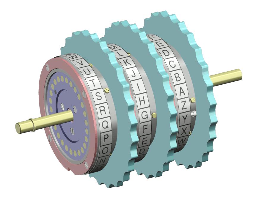 Tři rotory na společné hřídeli