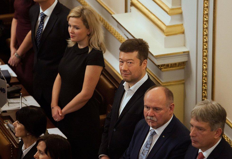 První zasedání sněmovny po volbách. Tomio Okamura, SPD.