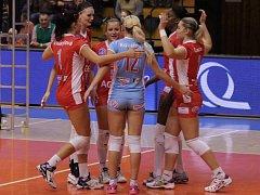 Volejbalistky Prostějova se radují z úspěšné akce proti SG Brno.