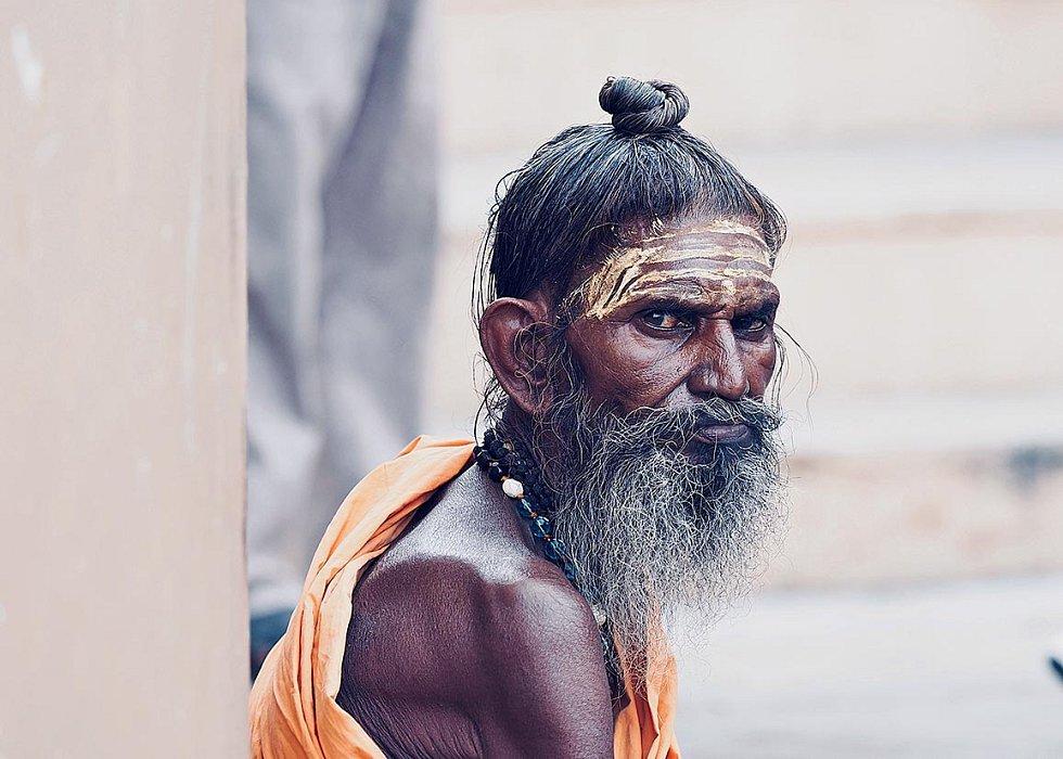 Svatý muž, Váránasí, Indie