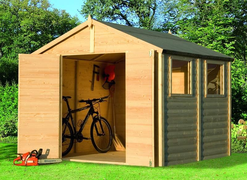 Zahradní domky Konsta, které lze koupit například v Hornbachu, mají střechu z masivního dřeva, stěny o tloušťce minimálně 19 mm včetně kování a zámků.
