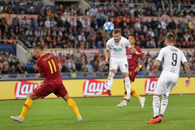 Fotbalisté Viktorie Plzeň v zápasu proti AS Řím