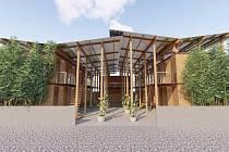 Modulární dům z bambusu.