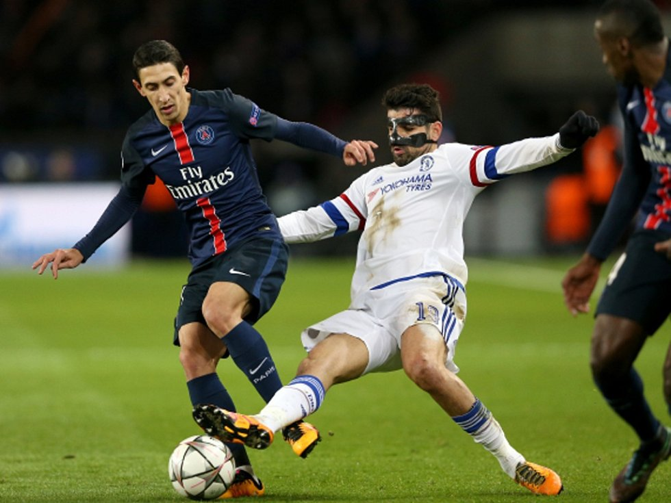 Ángel Di María z Paris St. Germain (vlevo) a Diego Costa z Chelsea.