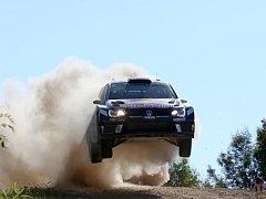 Andreas Mikkelsen na trati Australské rallye.