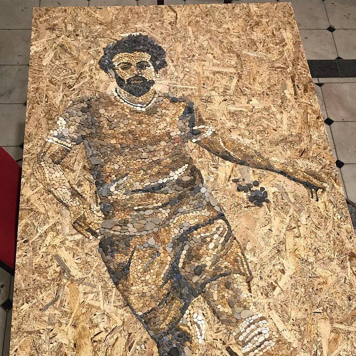 Mozaiky ruských umělců. Argentinec Leo Messi a Egypťan Mohamed Salah.