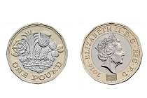 nová mince v hodnotě jedné britské libry