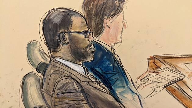 Zpěvák R. Kelly (vlevo) na kresbě ze soudní místnosti federálního soudu v newyorské čtvrti Brooklyn