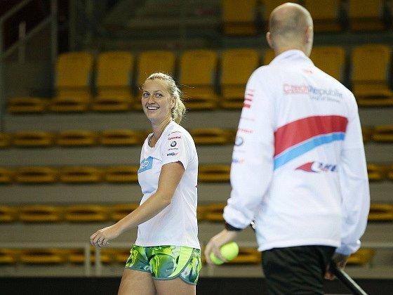 Petra Kvitová na trénink před finále Fed Cupu sFrancií.