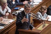 Jednání o důvěře vlády v Poslanecké sněmovně 16. ledna v Praze. Babiš