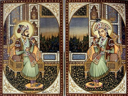 Vládce Mughalské říše Šáhdžahán a jeho milovaná manželka Mumtáz Mahal.