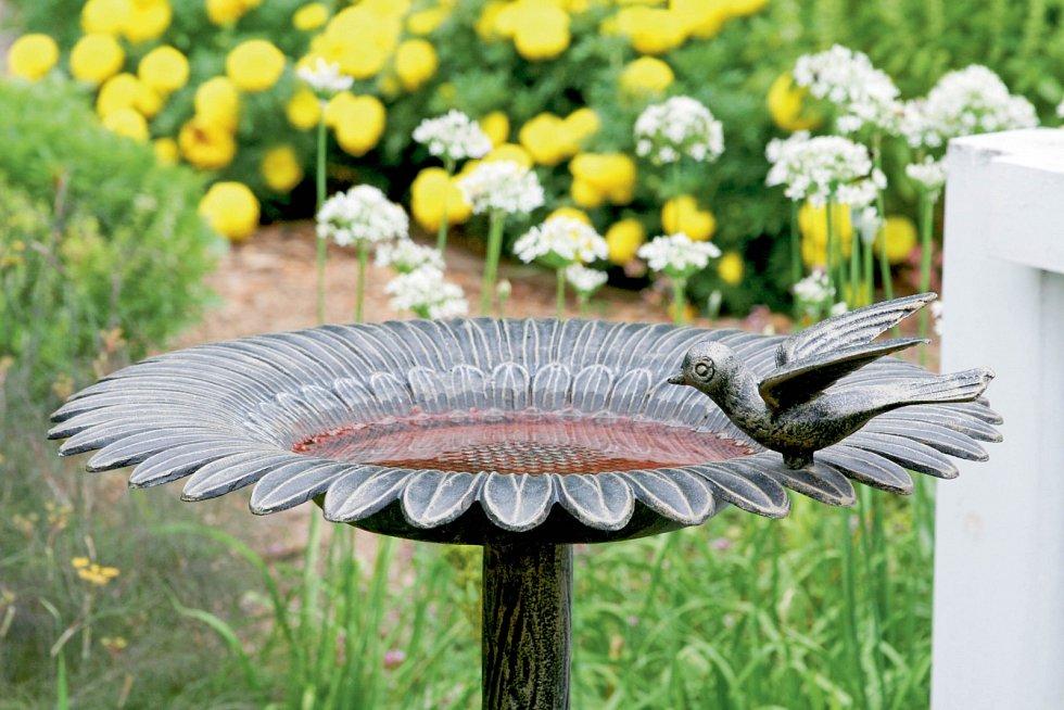 Napajedlo ve tvaru květiny je vtipnou i dobročinnou ozdobou záhonu.