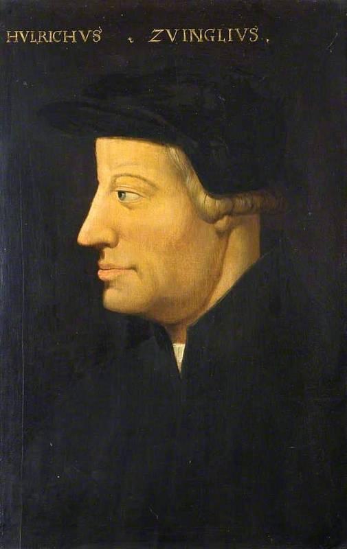 Obraz Ulricha Zwingliho, který padl v bitvě u Kappelu v roce 1531. Zaujme jeho podoba s Lutherem