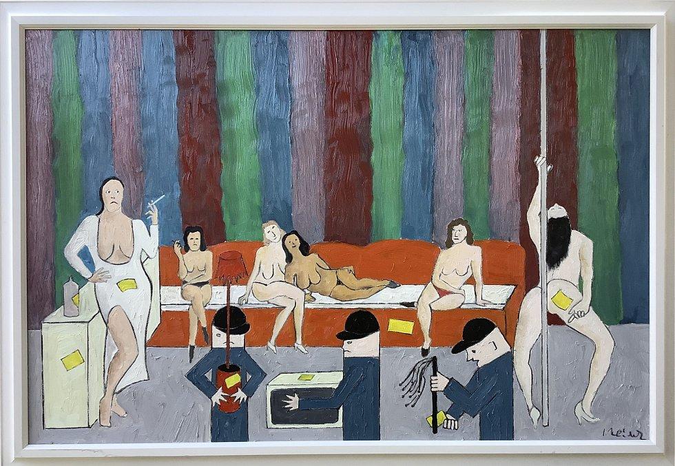 """vé oleje maluje v originálním """"antiperspektivním"""" stylu."""