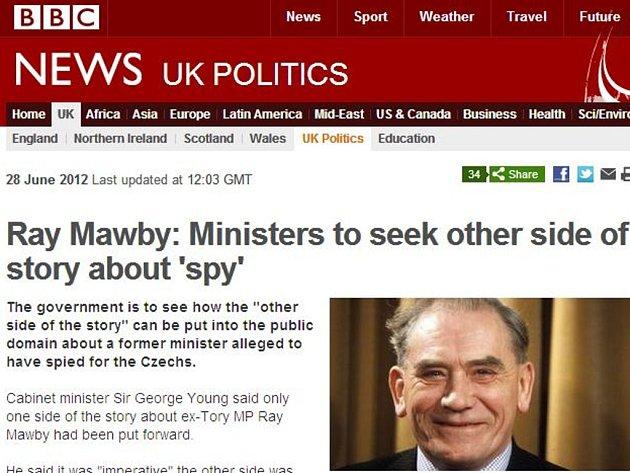 Někdejší britský konzervativní ministr a poslanec Raymond Mawby podle BBC prodával informace agentům tajné služby komunistického Československa.