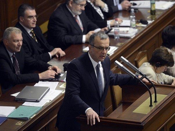 Miroslav Kalousek na zasedání Sněmovny.