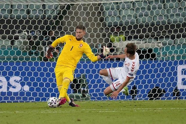 Tomáš Vaclík ve čtvrtfinále Eura proti Dánsku.