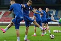 Fotbalisté Vojvodiny Novi Sad při tréninku v Plzni