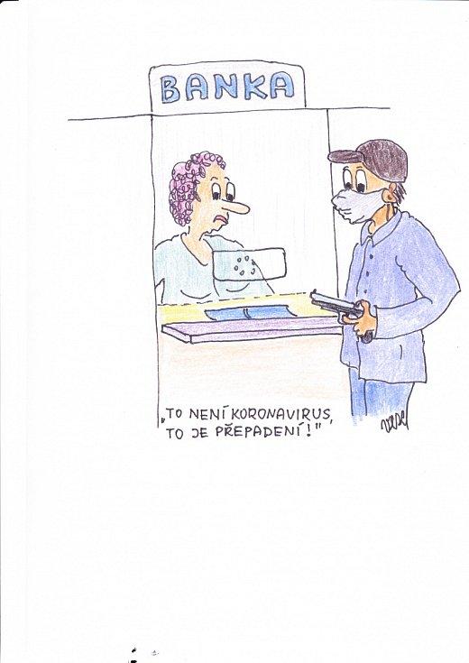 Kreslený vtip od čtenáře na účet koronaviru.