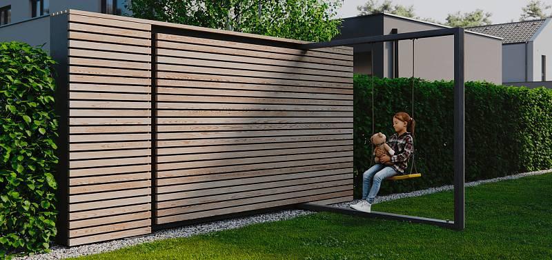 Chytrý plot s plnohodnotnou dětskou houpačkou. Jednoduše vyklopíte a pojistkou zajistíte. Později zase rychle schováte.