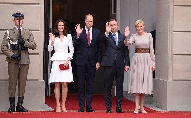 Princ William s Kate a polský prezident Andrzej Duda s manželkou Agatou Kornhauser-Duda