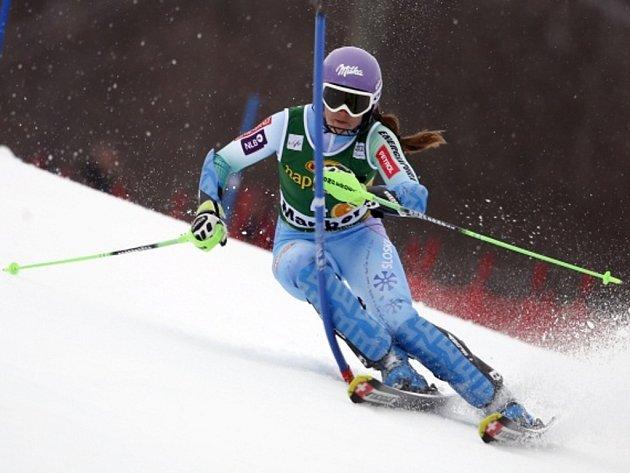 Šárka Strachová ve slalomu SP v Mariboru.