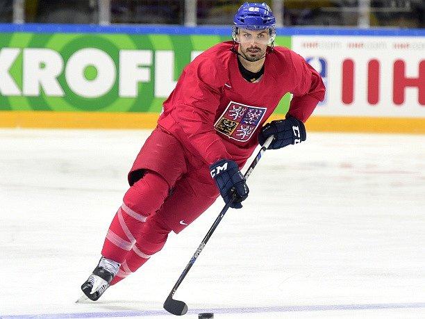 Michal Řepík na tréninku hokejové reprezentace.