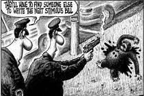 """Jeden policista druhému: """"Bude třeba najít někoho jiného, aby napsal nový balík stimulů."""" Karikatura deníku New York Post."""