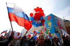 Prvomájové oslavy v centru Moskvy.