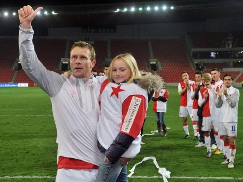Slávistický útočník Stanislav Vlček se loučil se svojí sportovní kariérou před zahájením utkání 16. kola první fotbalové ligy mezi Slavia Praha a Baník Ostrava.