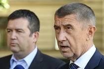 Zprava premiér Andrej Babiš (ANO) a předseda koaliční ČSSD Jan Hamáček odpovídají na dotazy novinářů.