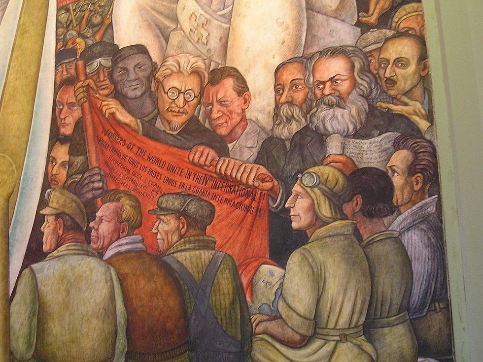 Trockij, Marx a Engels na nástěnné malbě od Diega Rivery v Národním paláci v Mexico City