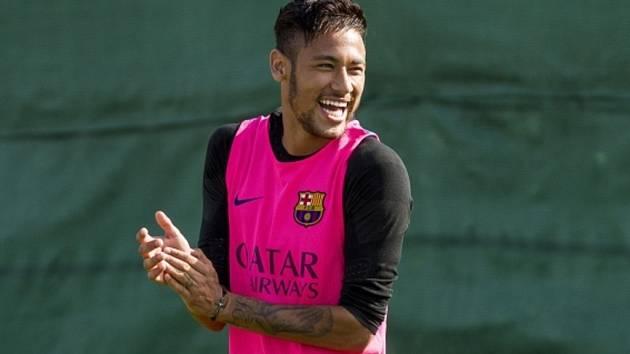Neymar na tréninku Barcelony.