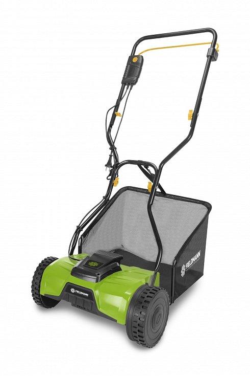 Vřetenová sekačka Fieldmann FZR 1050, 3490 Kč. Postará se o šetrnou údržbu trávníku, protože trávu neseká, ale v podstatě stříhá. Vřetenová elektrická sekačka může sekat trávník kratší než sekačka rotační, což podporuje růst zvlášť hustého travního drnu.