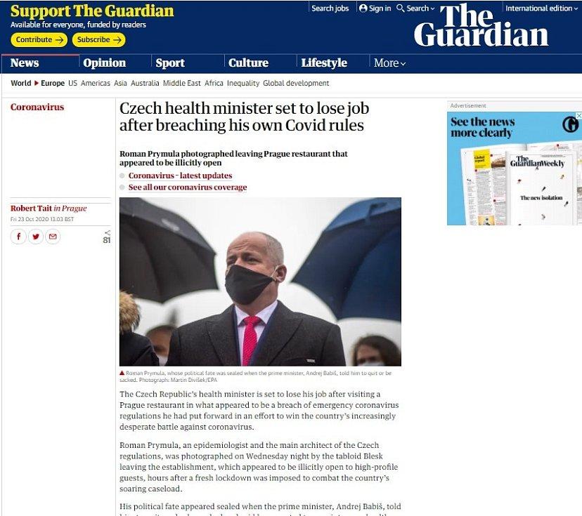 Světová média zaznamenala Prymulovu blamáž. The Guardian
