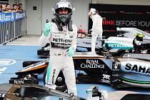 Nico Rosberg se raduje z vítězství v kvalifikaci na VC Japonska.