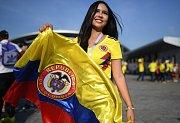 Kolumbijská fanynka. Fotbalové MS Rusko 2018
