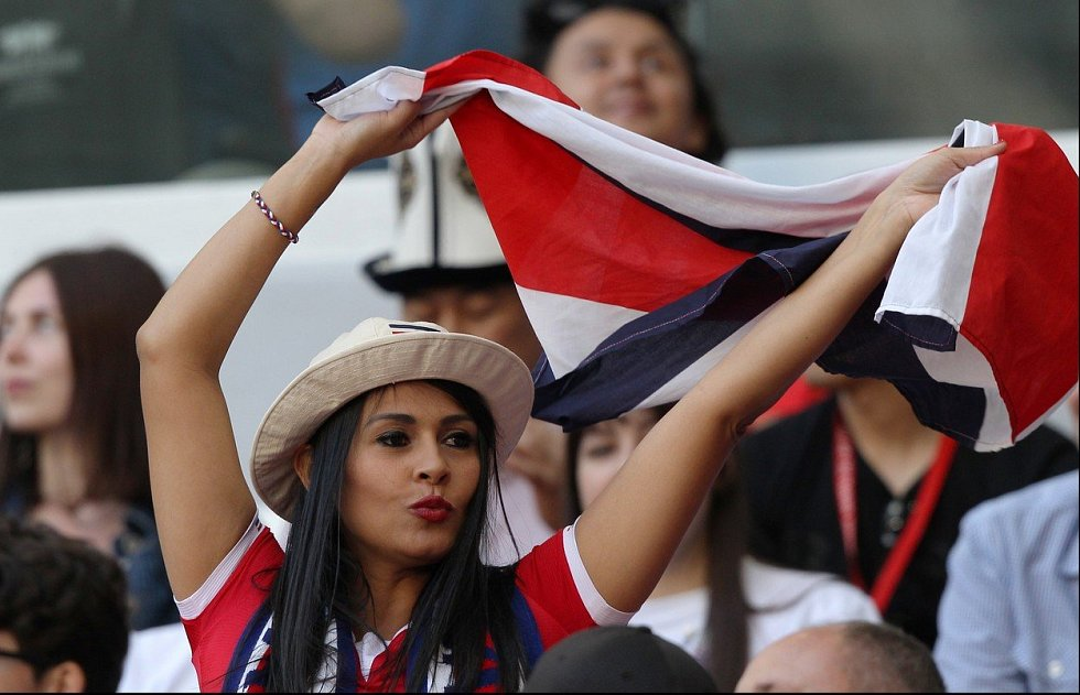 Kostarická fanynka. Fotbalové MS Rusko 2018