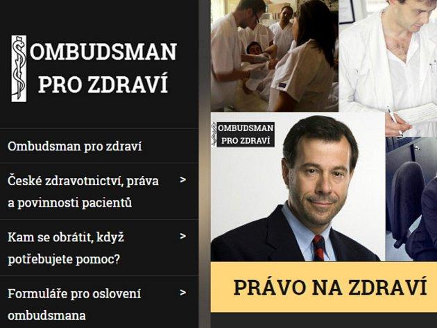 Webová stránka projektu Ombudsman pro zdraví.