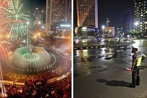 Zatímco v minulých letech se před hotelem Indonesia v Jakartě slavilo, letos tu na dodržování opatření dohlížela policie.