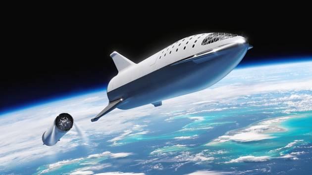 Vizualizace velké rakety Falcon.