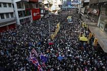Demonstrace v Hongkongu (na snímku z 8. prosince 2019)