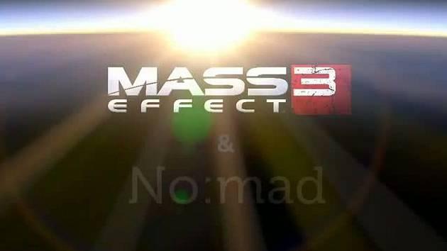 Záběr ze sondy doplněný o logo počítačové hry Mass Efect 3.
