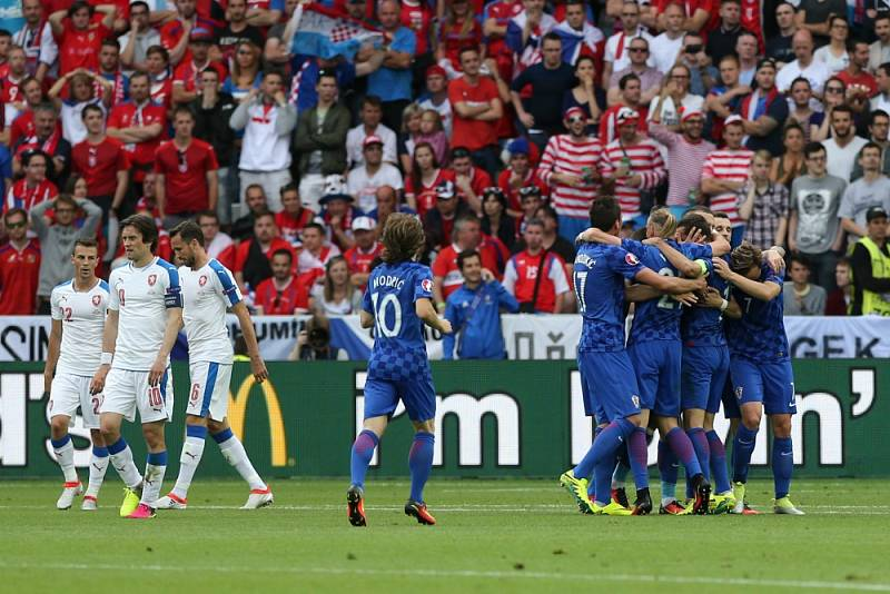 Zápas ME ve fotbale mezi Českou republikou a Chorvatskem.