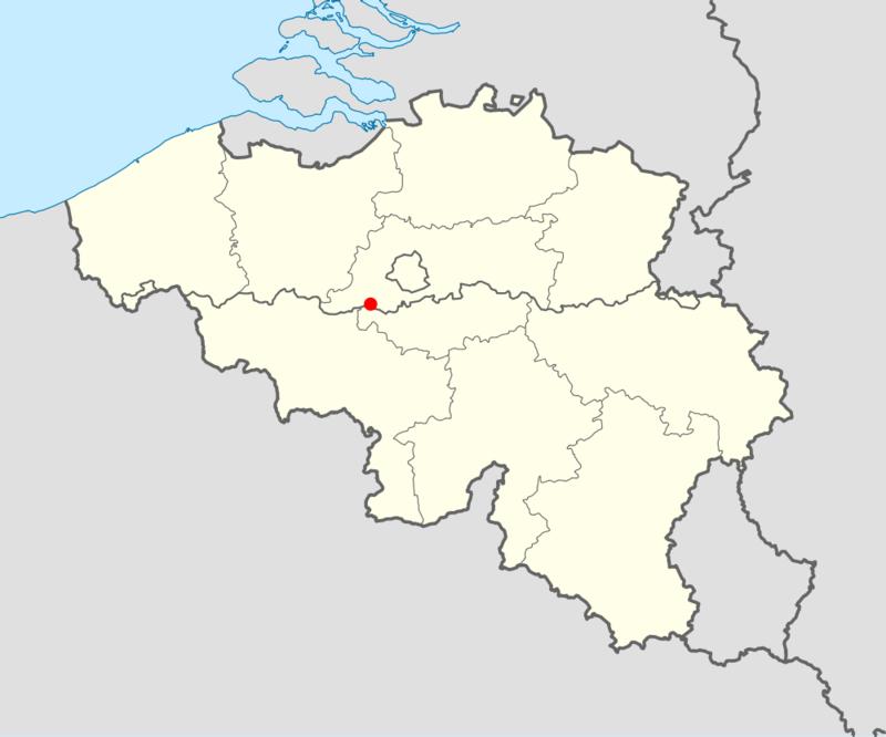 Místo nehody na belgické mapě