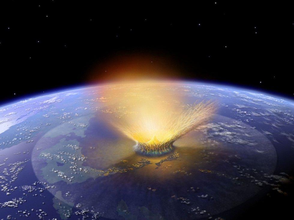 Počítačová animace dopadu asteroidu. Podle odborníků takový scénář nehrozí.